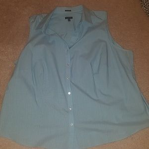 Talbots Striped Button Down Sleeveless Shirt